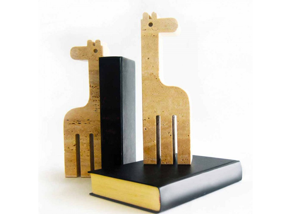 2 Bookends in Travertine Marble in the shape of a Giraffe Made in Italy - Morra