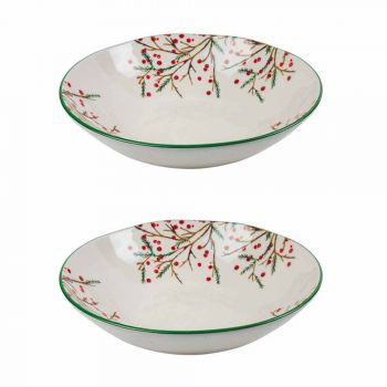 2 Salad Bowls with Christmas Decorations in Porcelain Serving Plates - Butcher's Broom