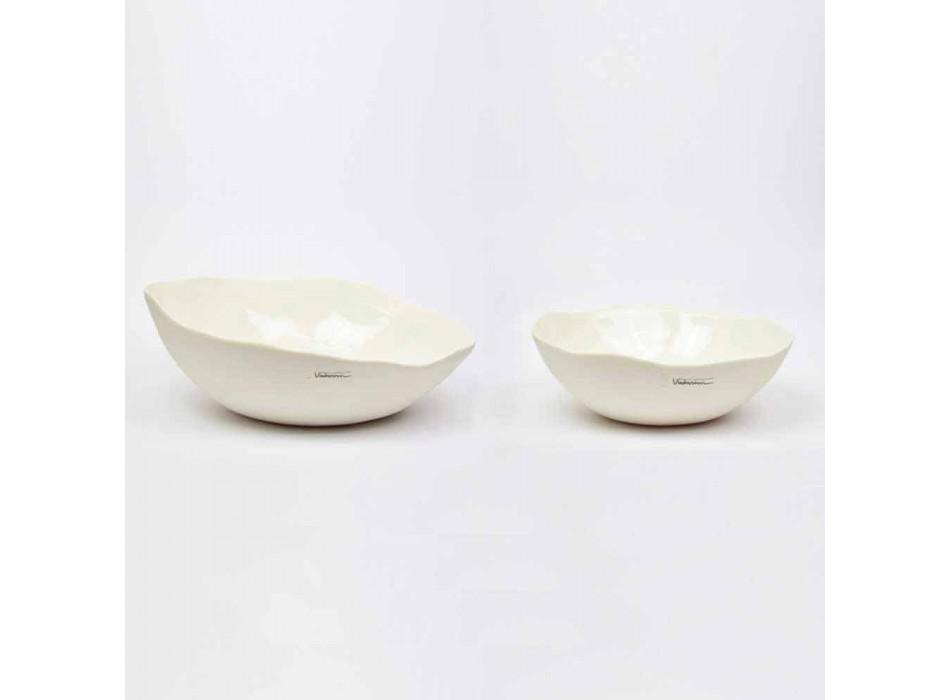 2 Salad Bowls in White Porcelain Unique Pieces of Italian Design - Arciconcreto
