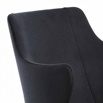 2 Elegant Living Room Armchairs Colored Fabric and Black Metal - Duchess