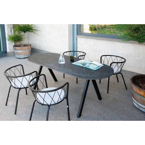 2 Outdoor Armchairs in Painted Metal Stackable Made in Italy - Adia
