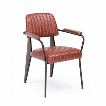 2 Chairs with Armrests in Leatherette Vintage Effect Homemotion - Clare