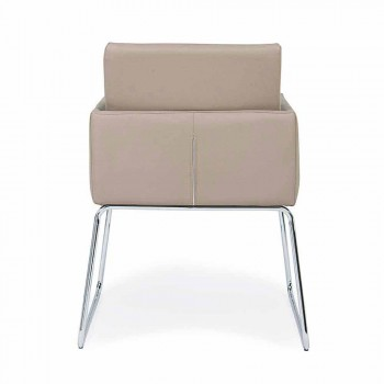2 Chairs with Armrests Covered in Leatherette Modern Design Homemotion - Farra