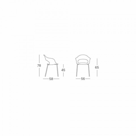 2 Modern Technopolymer Kitchen Chairs Made in Italy - Scab Design Lady B