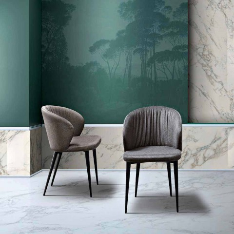 2 Living Room Chairs in Fabric and Ash of Elegant Design - Reginaldo
