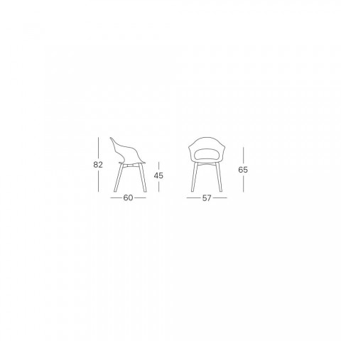 2 Beech Design Chairs Upholstered in Made in Italy Fabric - Scab Design Lady B