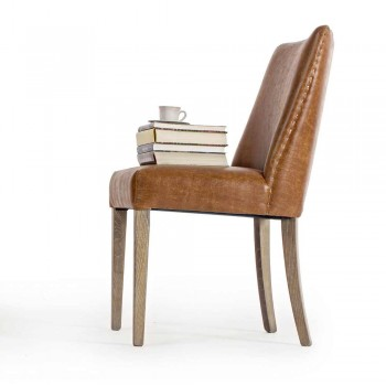 2 Design Chairs in Brown Leatherette and Oak Wood Homemotion - Gallia