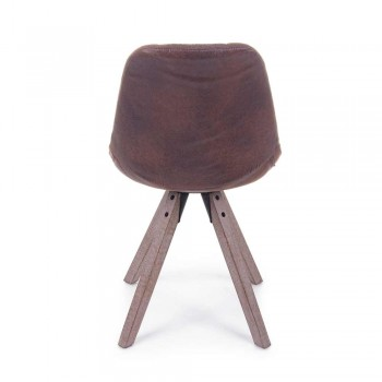 2 Design Chairs Upholstered in Fabric with Wooden Legs Homemotion - Brielle