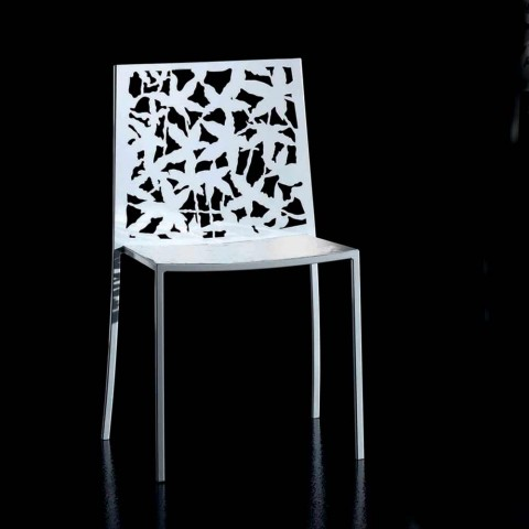2 Modern Design Laser Carved White Metal Chairs - Patatix