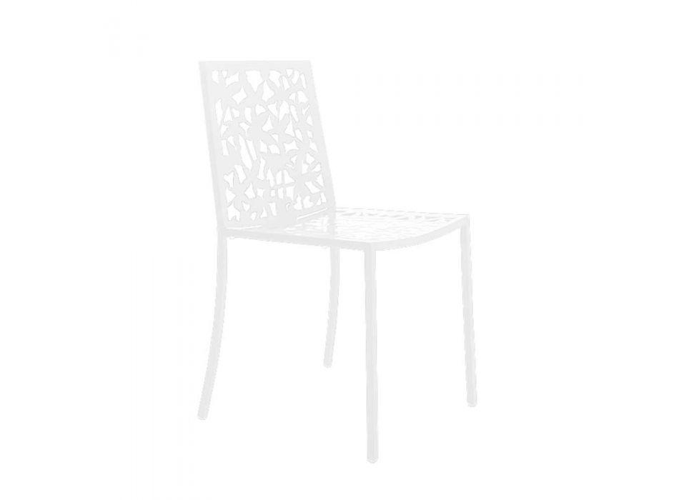 2 Modern Design Laser Carved White Metal Chairs - Patatix