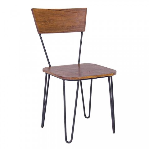 2 Industrial Style Chairs with Seat and Back in Homemotion Wood - Indigo