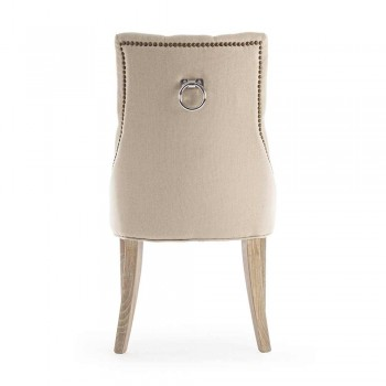 2 Modern Linen Chairs with Oak Wood Structure Homemotion - Barna