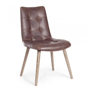 2 Modern Industrial Style Chairs Covered in Leatherette Homemotion - Riella