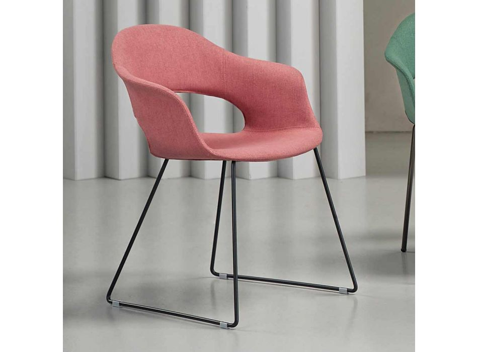 2 Modern Fabric Chairs with Sled Base Made in Italy - Scab Design Lady B