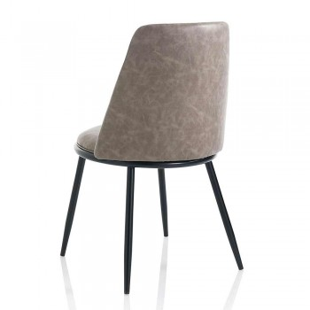 2 Modern Dining Room Chairs in Leatherette and Matt Black Metal - Frizzi