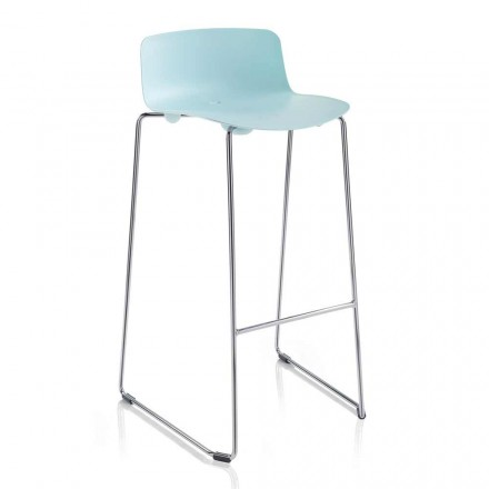 2 High Bar Stools in Metal and Polypropylene Made in Italy - Chrissie