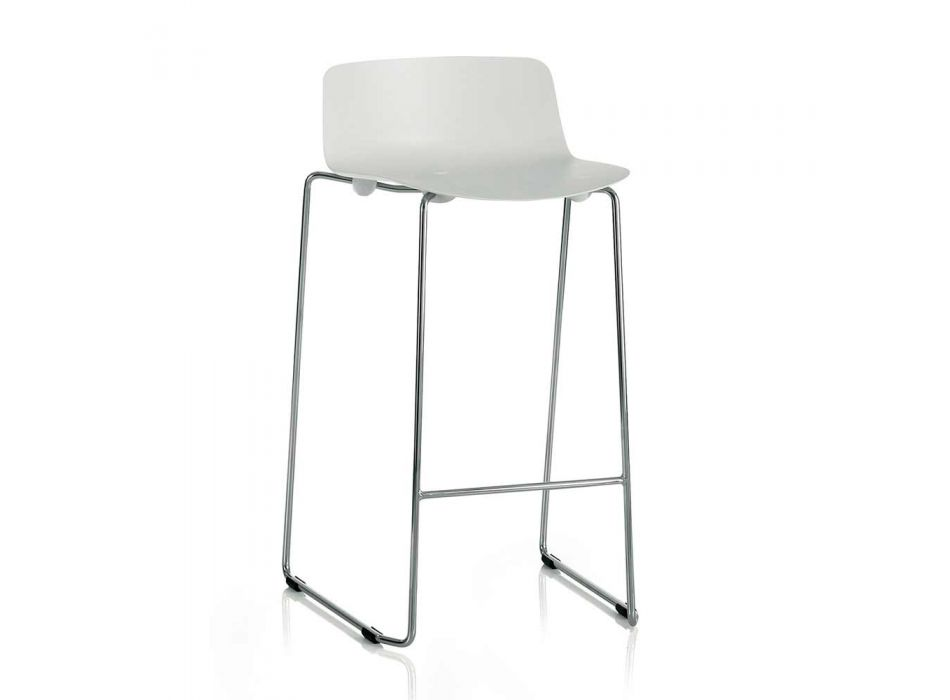 2 High Stools in Metal and Polypropylene Made in Italy - Chrissie