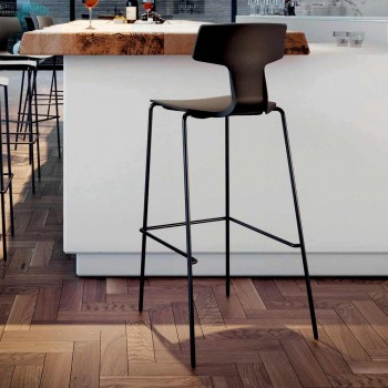 2 Stackable Bar Stools in Metal and Polypropylene Made in Italy - Arlette