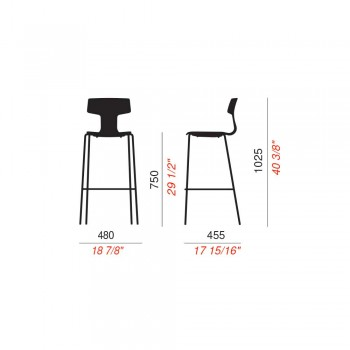2 Stackable Outdoor Stools in Metal and Polypropylene Made in Italy Annice
