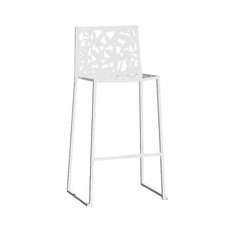 2 Stools in White Metal Laser Cut Low or High Design - Patatix
