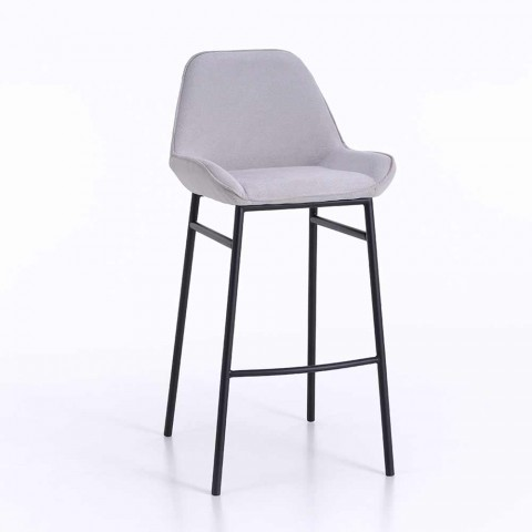 2 Modern Metal Stools with Microfiber or Imitation Leather Seat - Bellino