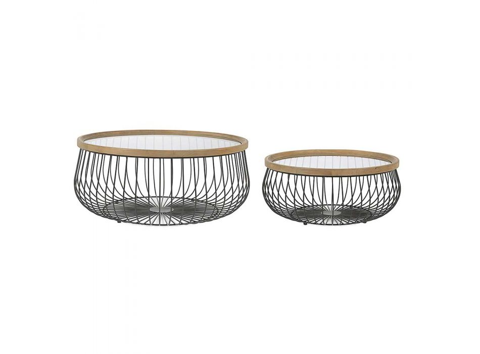 2 Homemotion Coffee Tables with Round Glass and Wood Top - Randolo