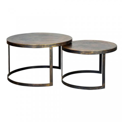 2 Round Lounge Tables in Bronze and Iron of Modern Design - Joint