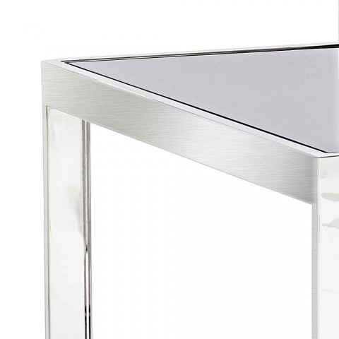 2 modern design coffee tables in steel with Bubbi glass top