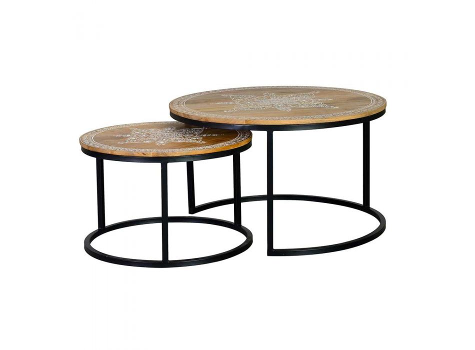 2 Tables in Mango Wood with Decoration and Black Structure Ethnic Style - Related