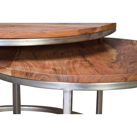 2 Round Mango Wood Coffee Tables and Metal Structure - Fedeli