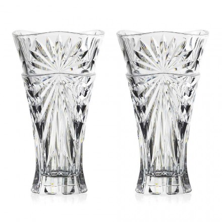 2 Table Decoration Vases in Unique Design Ecological Crystal - Daniele