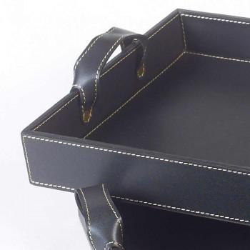2 design trays in black leather 41x28x5cm and 45x32x6cm Anastasia