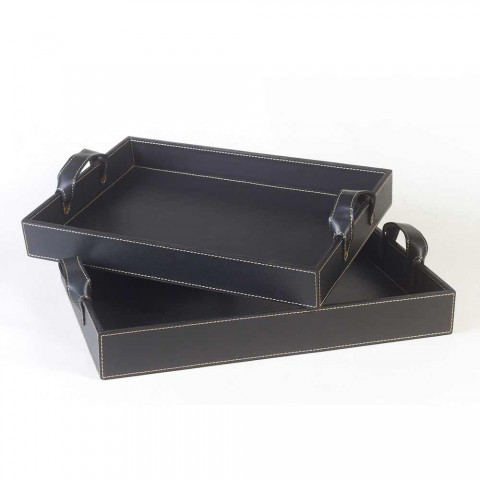2 design trays in black leather 41x28x5cm and 45x32x6cm Anastasia