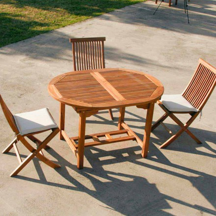 Extendable outdoor table made of teak wood Lipari