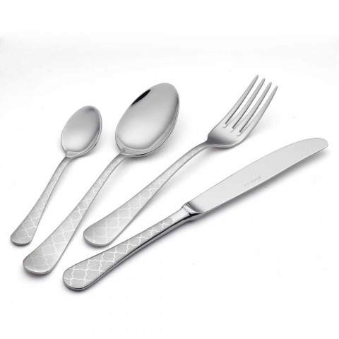 24 Stainless Steel Cutlery with Damascus Laser Decor of Modern Design - Tantasa