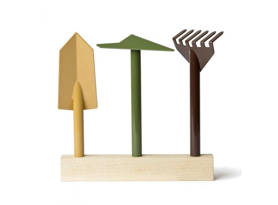 3 Metal Gardening Tools with Wooden Base Made in Italy - Garden