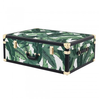 3 Design Trunks in Mdf and Fabric with Black Leather Effect Details - Amazonia