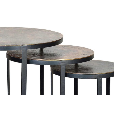 3 Bronze Coffee Tables and Iron Legs Modern Round Design - Allies