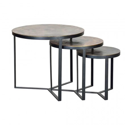 3 Round Bronze Coffee Tables with Iron Legs, Modern Design - Allies
