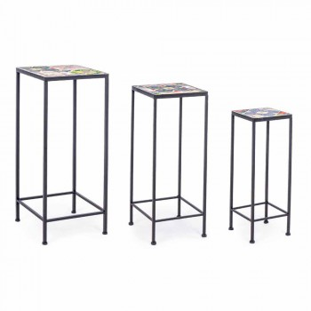 3 Square Design Steel Garden Tables with Decors - Enchanting