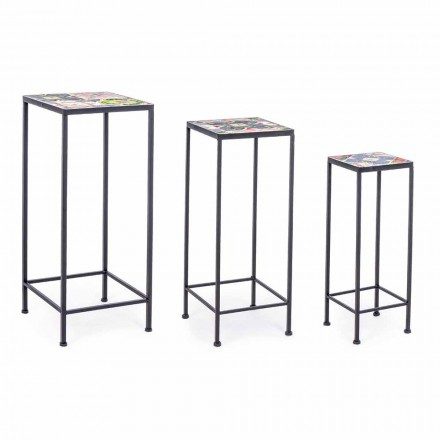 3 Square Garden Design Tables in Steel with Decors - Enchanting