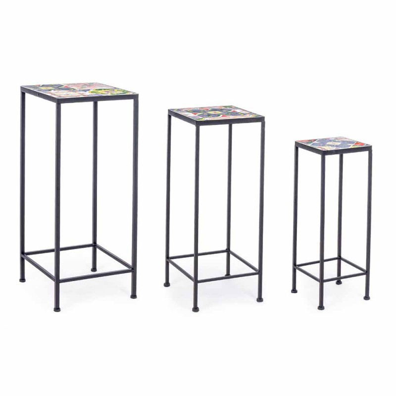 3 Square Garden Tables in Steel with Decors - Enchanting