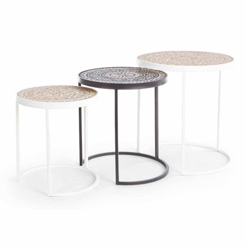 3 Coffee Tables in Mdf with Homemotion Inlaid Decorations - Mariam