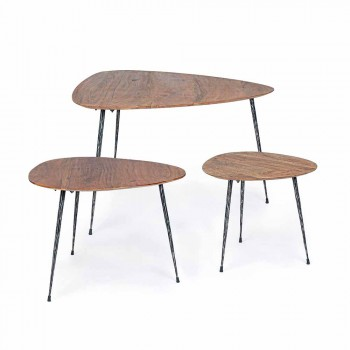 3 Modern Coffee Tables with Homemotion Mango Wood Top - Kalidi