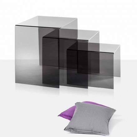 3 stackable coffee table made of fumé plexiglass Amalia, made in Italy