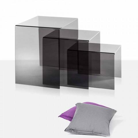 Astonishing 3 Stackable Coffee Table Made Of Fume Plexiglass Amalia Made In Italy Inzonedesignstudio Interior Chair Design Inzonedesignstudiocom
