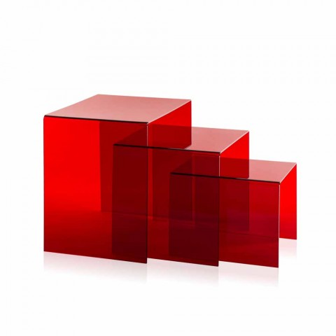 3 Red Adjustable Table Amalia, modern design, made in Italy