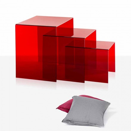 3 stackable coffee table made of red plexiglass Amalia, made in Italy
