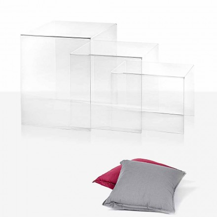 3 stackable coffee table made of transparent plexiglass Amalia
