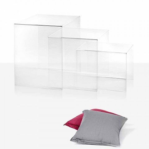 3 Amalia transparent, adaptable design tables, made in Italy